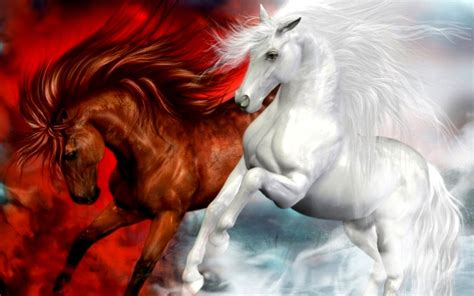 horses splendid white  red horse fantasy art hd