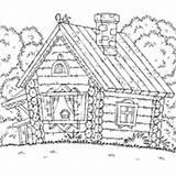 Cabin Woods Coloring Log Surfnetkids Sketch Template sketch template