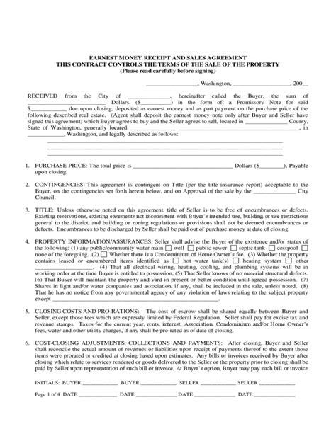 earnest money agreement form washington