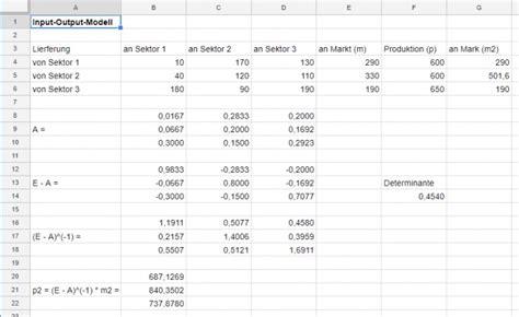 möbel rechnung matrizenrechnung drei sektoren bei einer volkswirtschaft