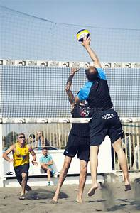 Spike. Man Jumping Attack. Beach Volleyball Editorial ...