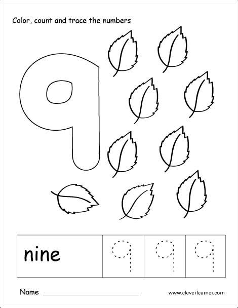 number nine writing counting and recognition activities 195   number 9 tracing worksheets kg