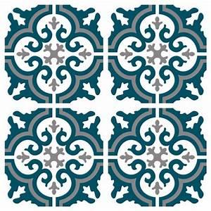 sticker carreaux de ciment simone bleu canard With carreaux de ciment bleu