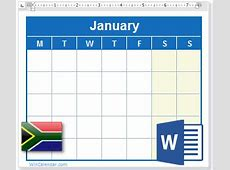 2018 Calendar with South Africa Holidays MS Word Download