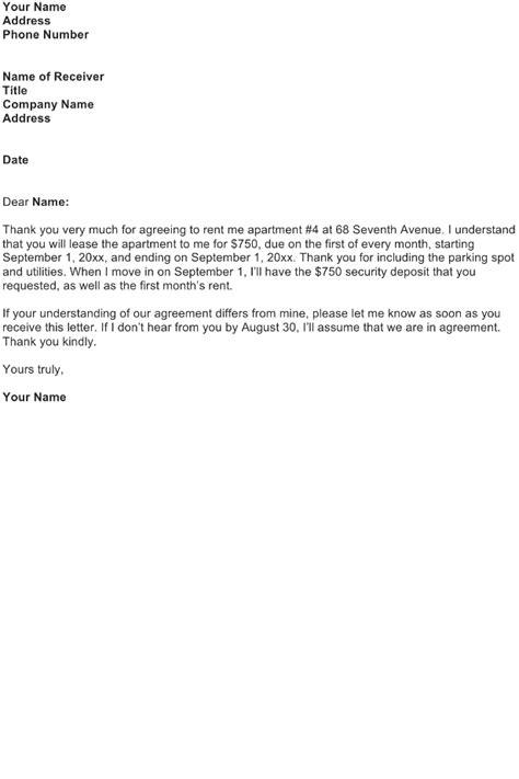 agreement letter sample   business letter