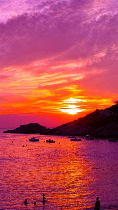 wallpaper sunset violet beach coast  nature
