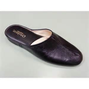 Black Leather Men's Slippers