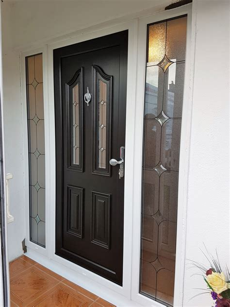 Pvc Door by Black Pvc Door With The Sidelights In White 2 Brealey
