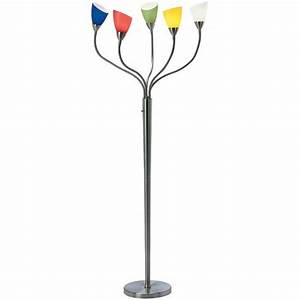 Beneficial multi head floor lamp shades floor lamp multi for Arc nero 5 light floor lamp with multi colored glass shades