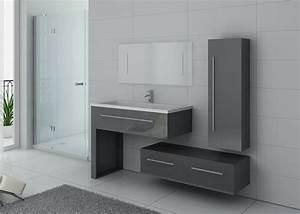Meuble De Salle : ensemble de meuble de salle de bain 1 vasque meuble de salle de bain gris dis9251gt distribain ~ Nature-et-papiers.com Idées de Décoration