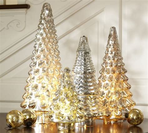 glass light up christmas tree mercury glass tree pottery barn