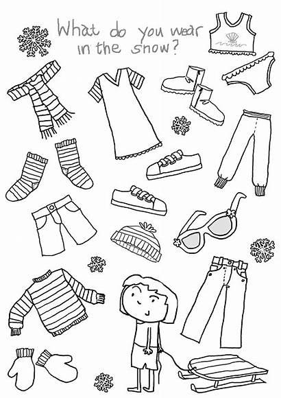 Clothes Worksheets Winter Printable Children Worksheet English