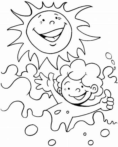Coloring Summer Pages Sun Swim Printable