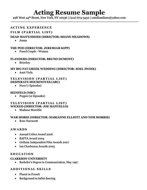 Acting Resume Sample & Writing Tips  Resume Companion. Computer Science Internship Resume Sample. Sample Resume For Business Owner. Ms Word Resume. Template For Resumes. Impressive Resume Design. Resume About Me Section. Sales Executive Job Description For Resume. Sample Of Resume For Students