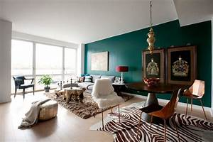 Teal accent wall living room contemporary with white table