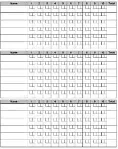 Ten Pin Bowling Score Sheet