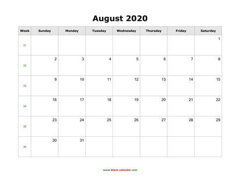 august  blank calendar horizontal