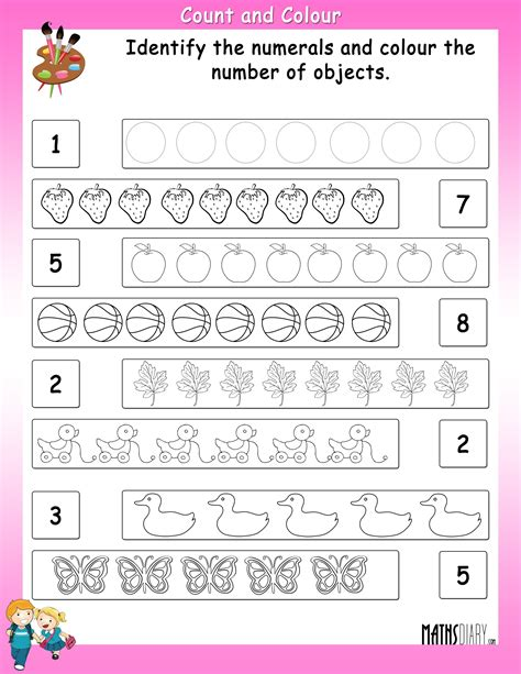 counting grade  math worksheets page