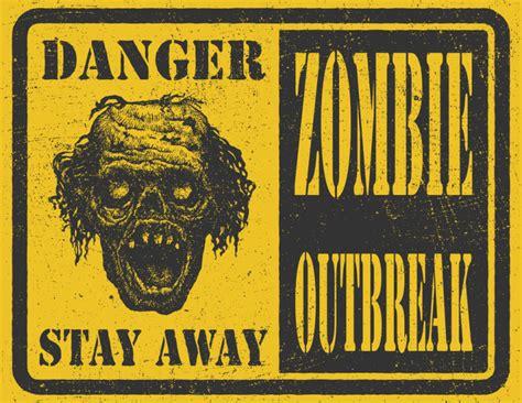 zombie outbreak sign apocalypse hand illustration vector drawn premium poster attack