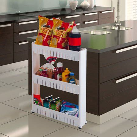 Slim Pantry Three Tier Slim Slide Out Pantry On Rollers 5 Quot Wide