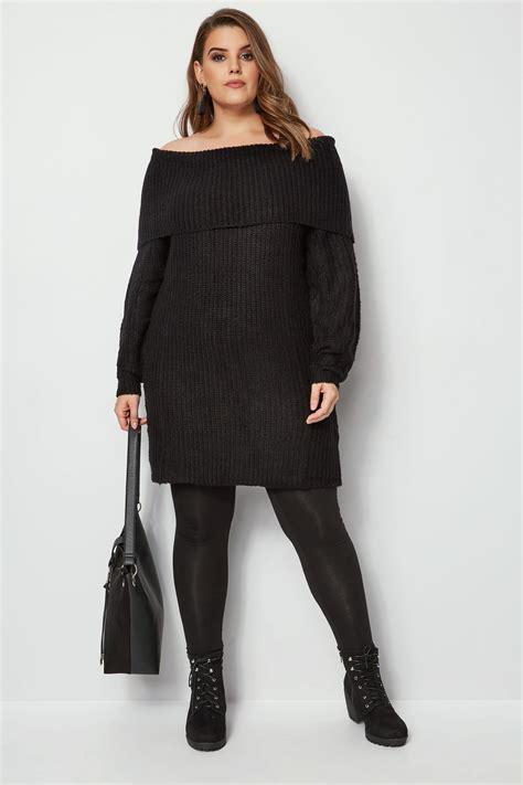 Czarny Sweter Z Wywijanym Dekoltem, Duże Rozmiary 4464