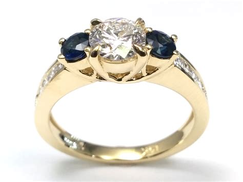 Engagement Ring -three Stone Diamond & Sapphire Engagement Ring In 14k Yellow Gold-es1379 Jewelry Holder Diy Ocean Making Supplies Victoria Doll Earrings Hanging Hack Chains