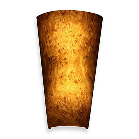 battery powered sconce buy it s exciting lighting battery powered led wall sconce in burlwood from bed bath beyond