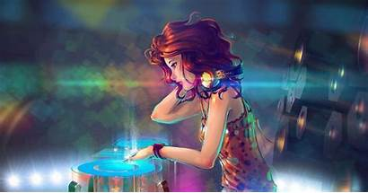 Dj Anime Wallpapers Headphones Redhead Colorful Background