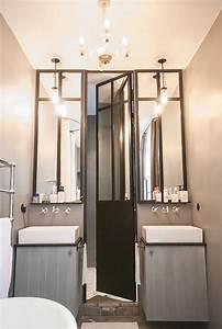 vue triptyque porte de douche et miroirs en metal zinc With porte de douche miroir