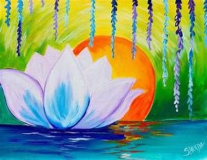 Lotus Flower Dawn Zen acrylic painting easy canvas ideas ...