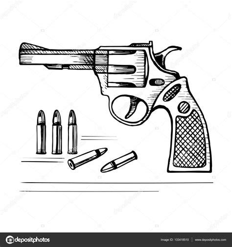 Conoce las mejores promociones que tenemos para ti. Sketch vector revolver gun with bullets — Stock Vector © roma79-0979@mail.ru #133418510
