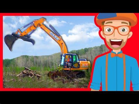 construction trucks  children  blippi excavators
