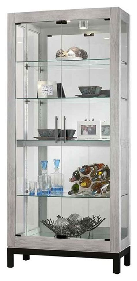 Silver China Cabinet by Silver Reclaimed Finish Two Glass Door Curio Cabinet