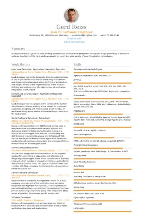 Web Developer Resume With 1 Year Experience by Sle Resume For Java J2ee Developer Great Resumes