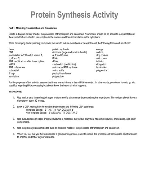 16 Best Images Of Dna And Rna Protein Synthesis Worksheet Answers  Protein Synthesis Worksheet