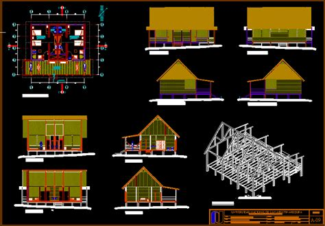 cabin ecolodge  dwg design elevation  autocad
