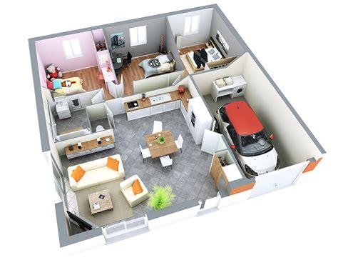 plan maison plain pied 4 chambres garage zoom sur le modèle alpilles top duo etiienne