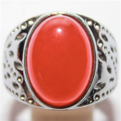 jual beli cincin batu giok merah serpentine batu