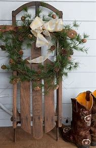 rustic christmas sled decoration