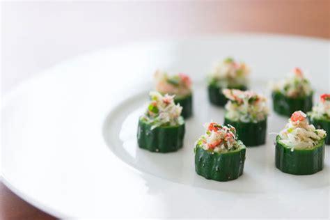 crab canapes crab in cucumber cups recipe fresh tastes pbs food