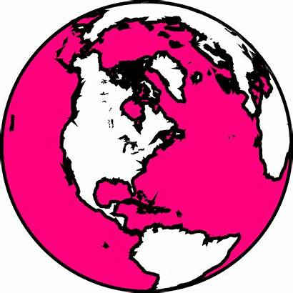 Globe Pink Clip Clipart Vector Clker Royalty