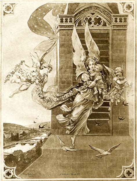 antique french graphic sepia angels  child
