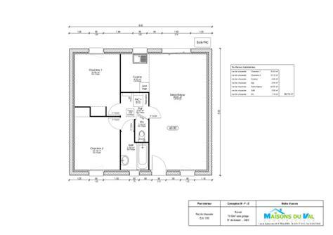 Plan Maison 2 Chambres - plan maison plain pied 2 chambres 60m2