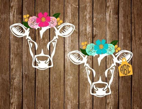 foto de Floral Headband Cow Monogram Decal Livestock Decal
