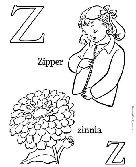 printable abc coloring page letter z preschool 827   dde827af4362a191344e412815d51d83