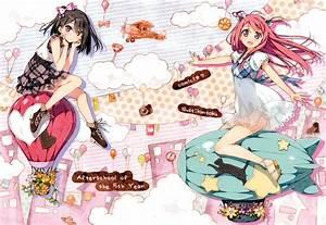 Girls, 5, Nenme, No, Houkago, Black, Hair, Kantoku, Kurumi, Kantoku, Red, Hair, Shizuku