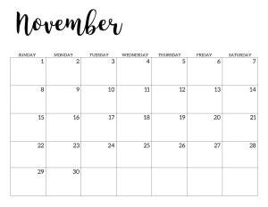 november  calendar  printable handletterd