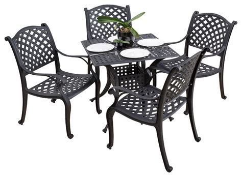 caydon outdoor 5pc black sand cast aluminum dining set