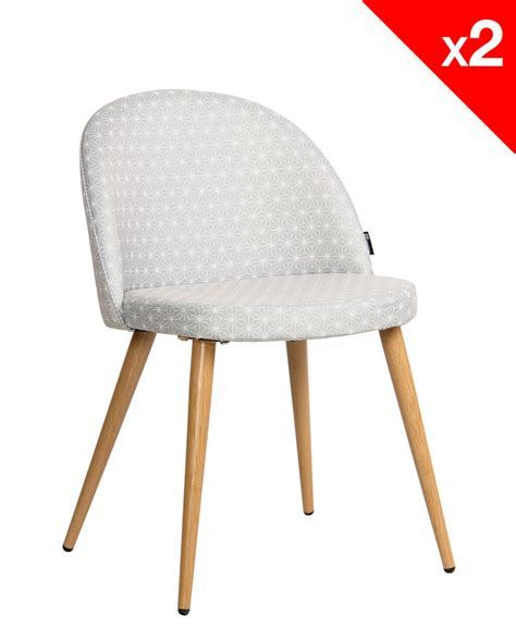 chaise scandinave vintage tissu étoiles lot de 2 giza