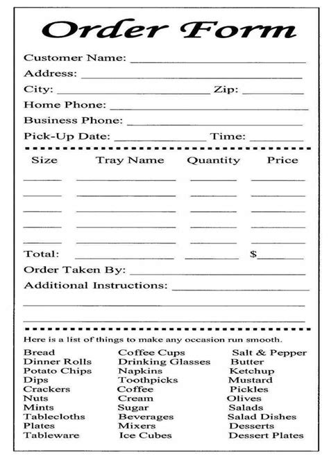catering  carryout form    ordering